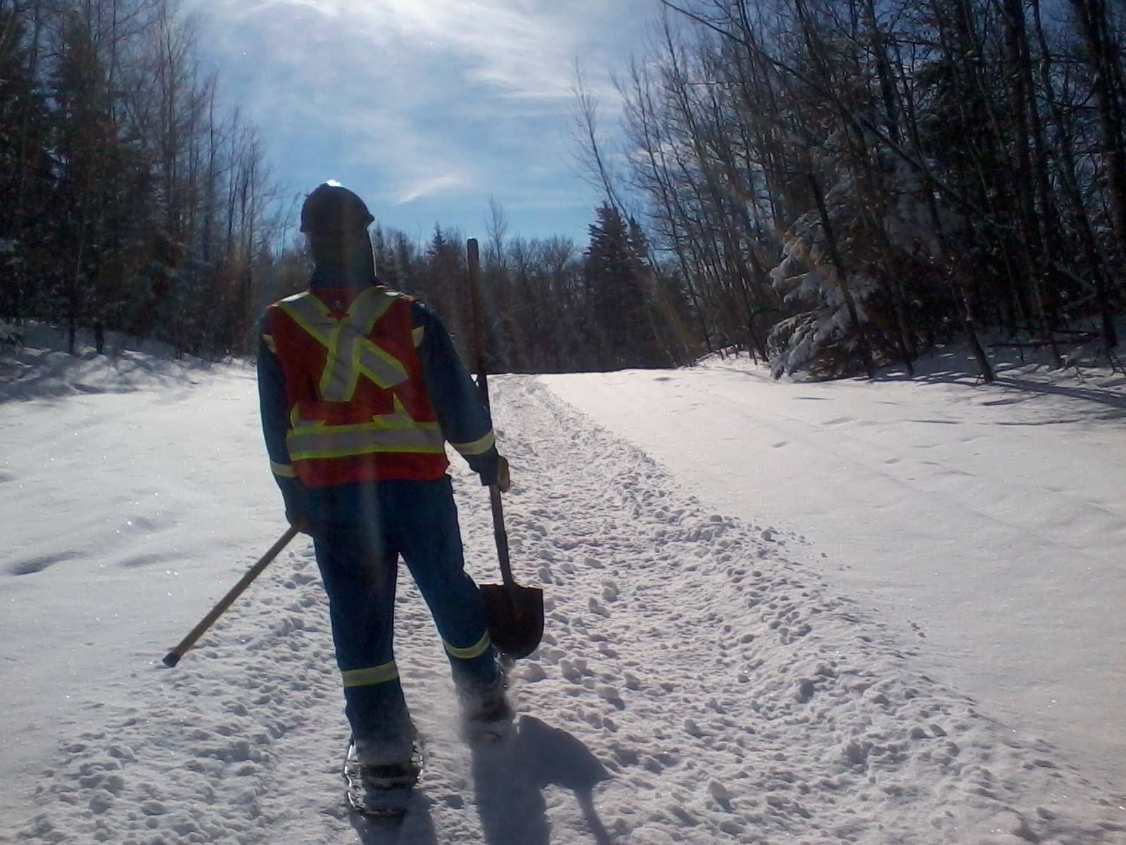 Working in snowshoes